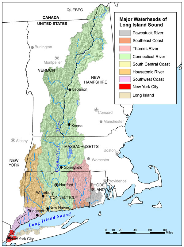 Map of Major Watersheds of Long Island Sound
